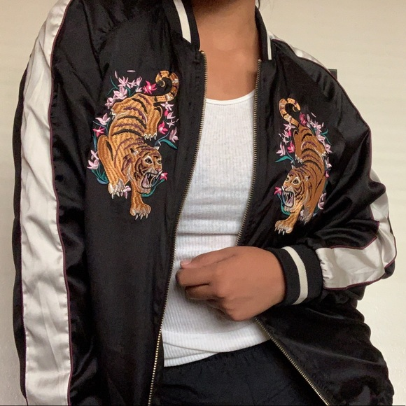 Urban Outfitters Jackets & Blazers - Tiger Embroidered Satin Bomber Jacket